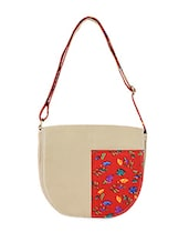 Floral Print Patch Sling Bag - Allmine