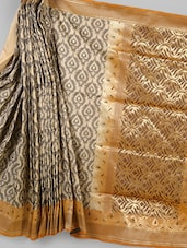 Beige & Orange Woven Silk Saree - BANARASI STYLE