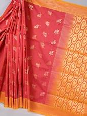 Contrast Pallu Red Woven Silk Saree - BANARASI STYLE