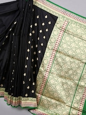 Black Zari Woven Silk Saree With Contrast Pallu - BANARASI STYLE