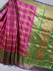 Checkered Woven Silk Saree With Contrast Pallu - BANARASI STYLE