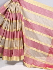 Gold & Pink Striped Cotton Silk Saree - BANARASI STYLE