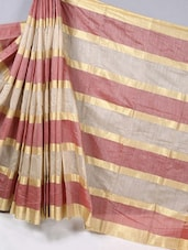 Gold & Maroon Striped Cotton Silk Saree - BANARASI STYLE