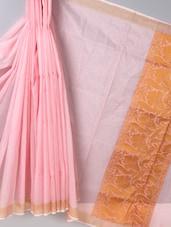 Baby Pink Zari Woven  Super Net Cotton Saree - BANARASI STYLE