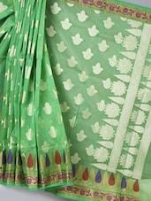 Light Green Woven Super Net Cotton  Saree - BANARASI STYLE