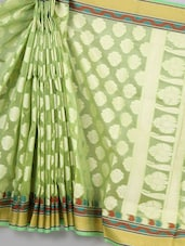 Green Woven Super Net Cotton Saree - BANARASI STYLE