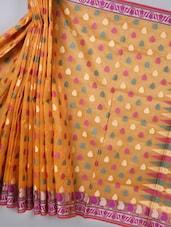 Orange Woven Super Net Cotton Saree - BANARASI STYLE