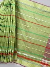 Moss Green Striped Woven Cotton Silk Saree - BANARASI STYLE