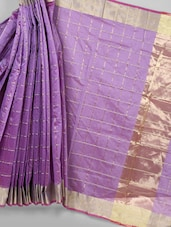Purple Zari Woven Cotton Silk Saree - BANARASI STYLE