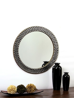 Hosley Decorative Metal Studded Round Wall Mirror -  online shopping for Decorative Mirrors