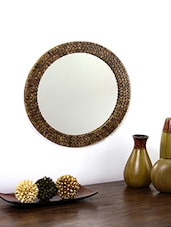 Hosley Decorative Round Log Slices Carved Brown Wooden Wall Mirror -  online shopping for Decorative Mirrors