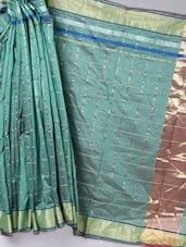 Teal Green Zari Bordered Cotton Saree - BANARASI STYLE