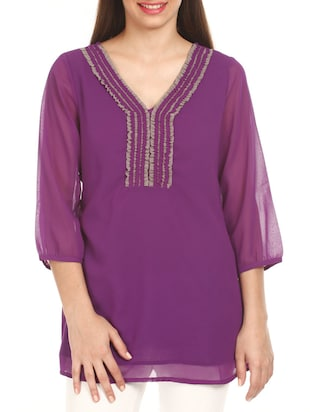 Purple V-neck Georgette top