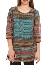 Multiprint 3/4th Sleeves Polyester Top - Mustard