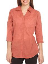 Plain Three-fourth Sleeves Cotton Shirt - Mustard