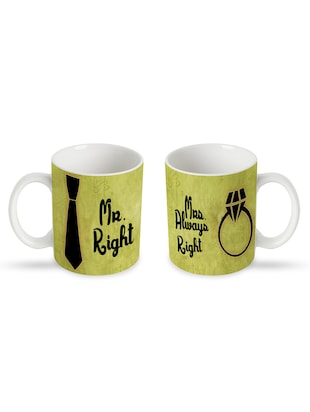 Mr. right and Mrs. Always right green couple Mugs