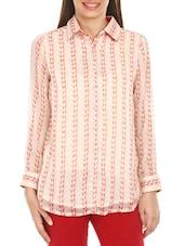 Peach Shirt Collar Chiffon Top - Mustard
