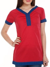 Red & Blue Cotton Top - Mustard