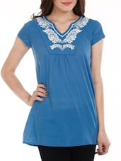 Blue Embroidered Cotton Top - Mustard