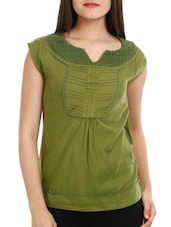 Mehendi Green Cotton Top - Mustard