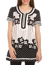 Black & White Printed Cotton Tunic - Mustard