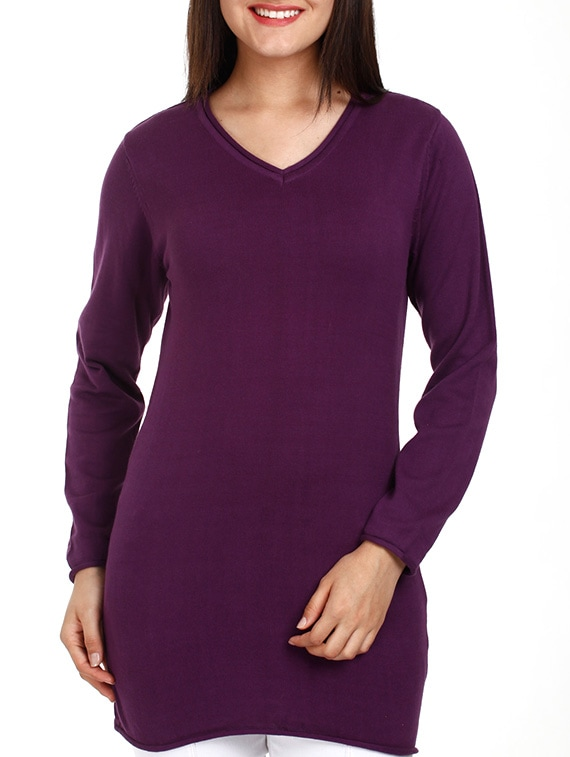 Purple V-neck Long Sleeves Cotton Top - Mustard