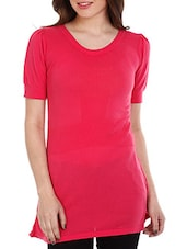 Fuchsia Short Sleeves Cotton Top - Mustard