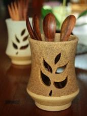Leaf Shape Cut Work Spoon Stand - Studio Asao