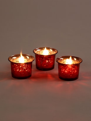 Metallic Red Glass Candle/Tealight Holder