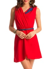 Red Sleeveless Overlap Neck Dress - PrettySecrets