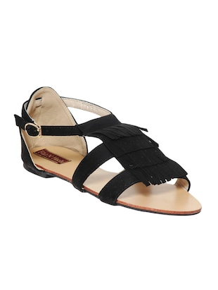 black leatherette sandals