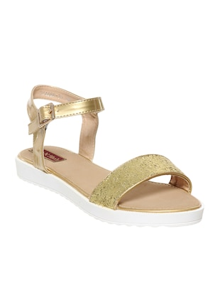 gold leatherette sandals