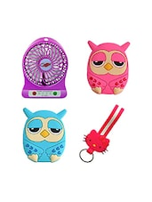 Novel 3 Cum Speed , Pink Owl , Blue Owl Fridge Magnet With Kitty Keychian Combo - By
