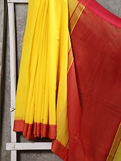 Classy Bengal Cotton In Yellow With Red Border And Anchal - Attire Zone