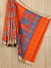 Orange Floral Printed Art Silk Georgette Saree - Sagar