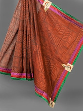 Brown Printed And Embroidered Saree - Vedika