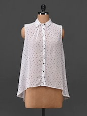Swiss Dot Printed Polyester Shirt - Oxolloxo
