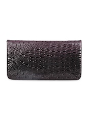 Leather Embellished  Purple Clutch - Sale Mantra