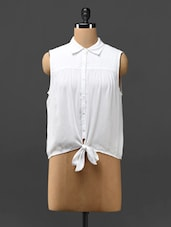 Solid White Top With Front Knot - Phenomena