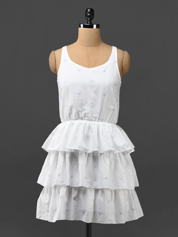 White Tiered Ruffled Cotton Dress - Phenomena