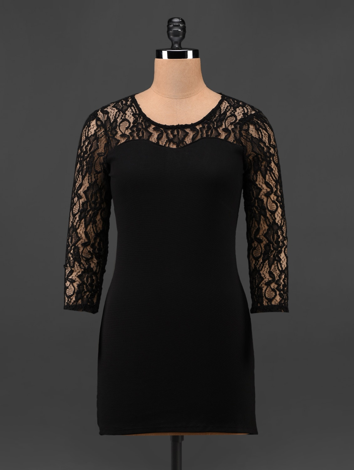 Sleeves & Neck Lace Polyester Dress - Feyona