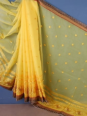 Sheer Thread Embroidered Saree - Style Mania