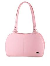 Pink Plain Solid Leatherette Hand Bag - BUTTERFLIES