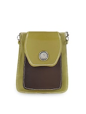 Leatherette Sling Bag With Flap - Bags Craze