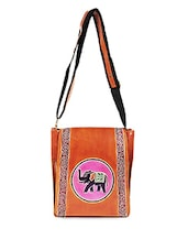 Elephant Print Leather Sling Bag - Bags Craze