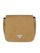 Beige Leatherette Sling Bag - Bags Craze
