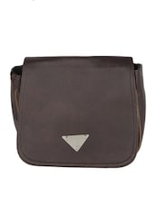 Dark Brown Leatherette Sling Bag - Bags Craze