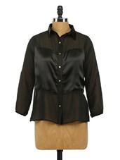 Black Full Sleeves Georgette Shirt - Imu