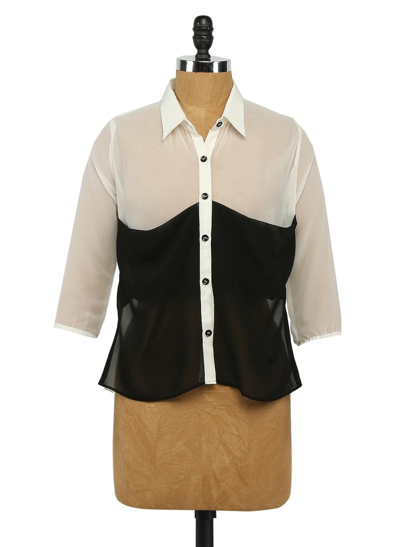 Colour Block Georgette Shirt - Imu
