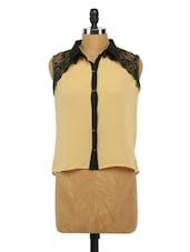 Sleeveless Lacy Shoulder Georgette Shirt - Imu